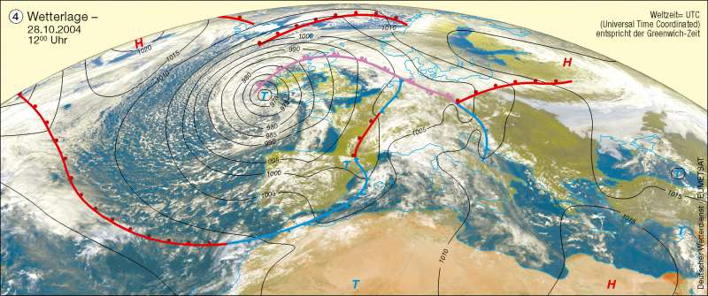 Wetterlage   28.10.2004   Erdatmosphäre/Wetterbeobachtung   Karte 226/4