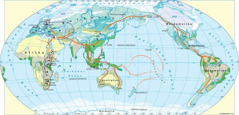 Menschen besiedeln die Erde |  | Erde - Ur- und Frühgeschichte | Karte 18/1