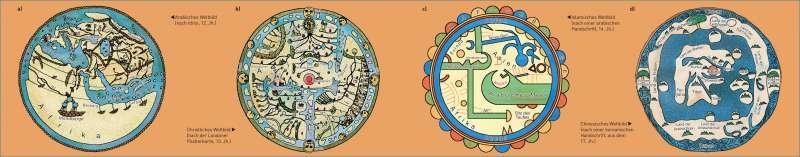 Weltbilder   durch religiöse und weltanschauliche Vorstellungen geprägte Darstellungen von der Erde als Scheibe   Erde - Geographische Entdeckungen   Karte 20/1
