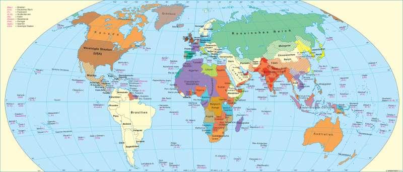 Die Welt Karte.Diercke Weltatlas Kartenansicht Die Welt Um 1914 978