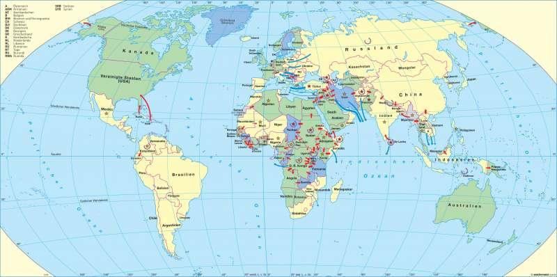Erde   Politische Flüchtlinge   Die Vereinten Nationen   Karte 28/1