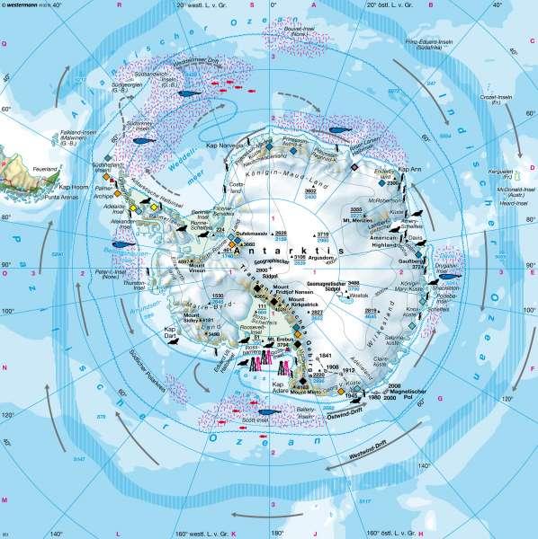 Südpolargebiet (Antarktis) |  | Erde - Polargebiete | Karte 43/4