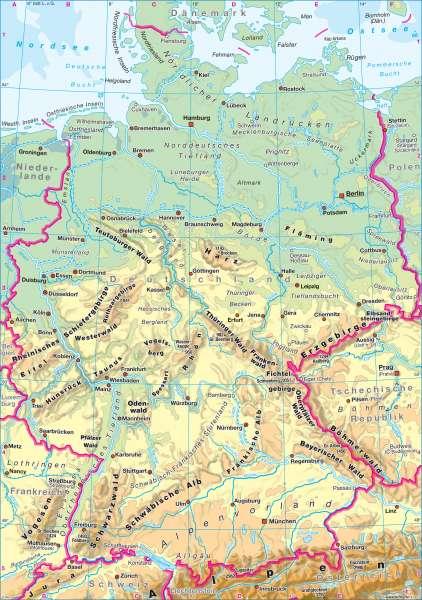 Physische Übersicht |  | Deutschland - Topographie | Karte 44/1