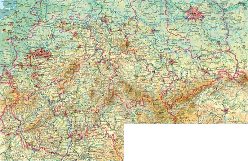 Deutschland mittlerer Teil | physisch | Deutschland mittlerer Teil - physisch | Karte 50/1