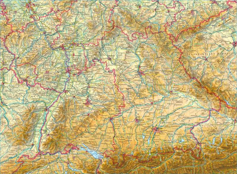 Deutschland südlicher Teil | physisch | Deutschland südlicher Teil - physisch | Karte 52/1
