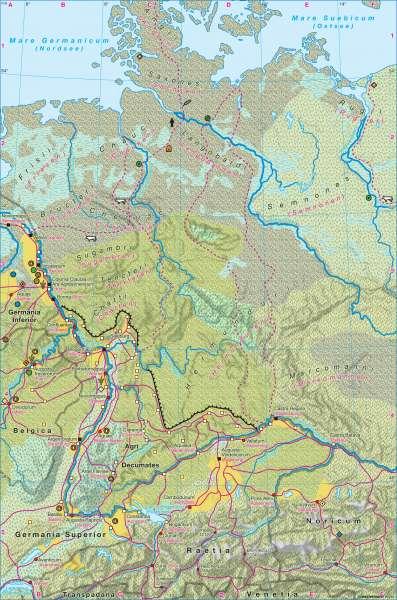 Germanien und Raetien 100 n. Chr. |  | Deutschland - Landschaftsgeschichte | Karte 56/1