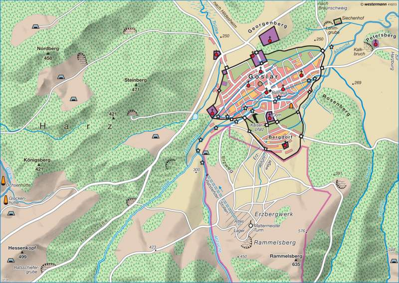 Goslar Karte.Diercke Weltatlas Kartenansicht Goslar Um 1300 978 3 14