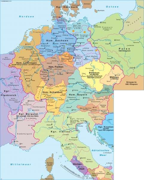 Heiliges Römisches Reich um 1000 |  | Deutschland - Heiliges Römisches Reich Deutscher Nation | Karte 58/1