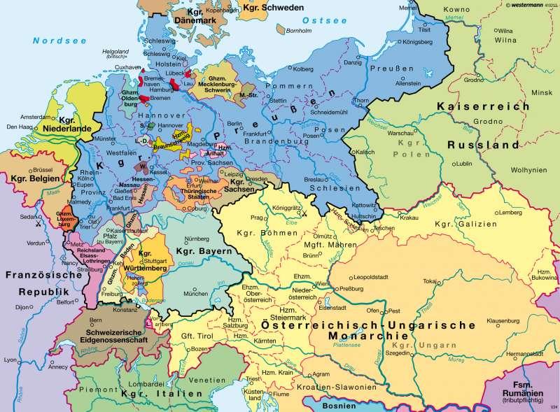 Diercke Weltatlas Kartenansicht Deutsches Kaiserreich 1871