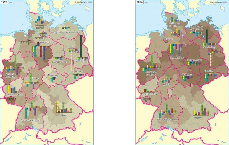 Langzeitarbeitslosigkeit und Binnenwanderung 1996 und 2006 |  | Deutschland - Bevölkerung | Karte 69/4