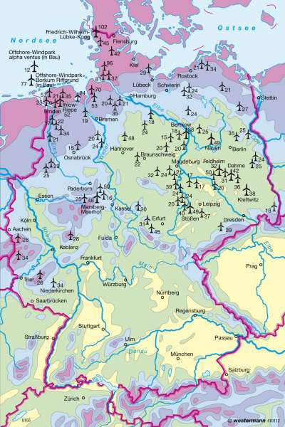 windkraftanlagen in deutschland karte Diercke Weltatlas   Kartenansicht   Deutschland   Windenergie