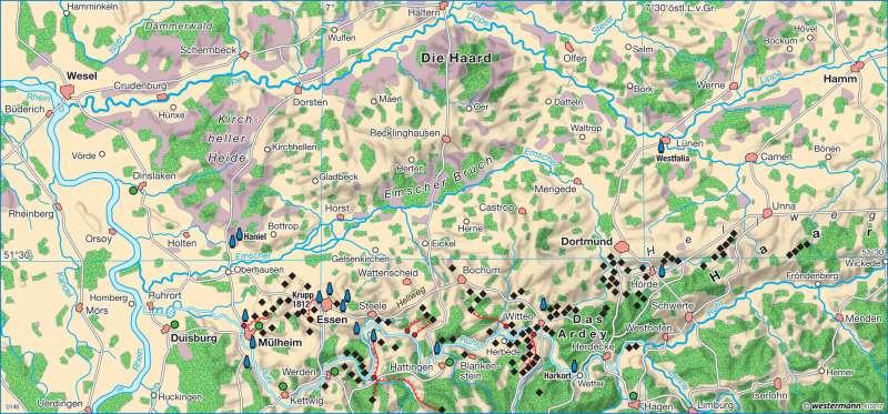 Karte Ruhrgebiet.Diercke Weltatlas Kartenansicht Ruhrgebiet Um 1840 978 3 14