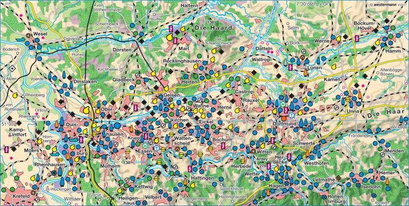 Karte Ruhrgebiet.Diercke Weltatlas Kartenansicht Ruhrgebiet Um 1960 978 3 14
