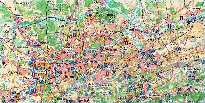 Karte Ruhrgebiet.Diercke Weltatlas Kartenansicht Ruhrgebiet 2008 978 3 14