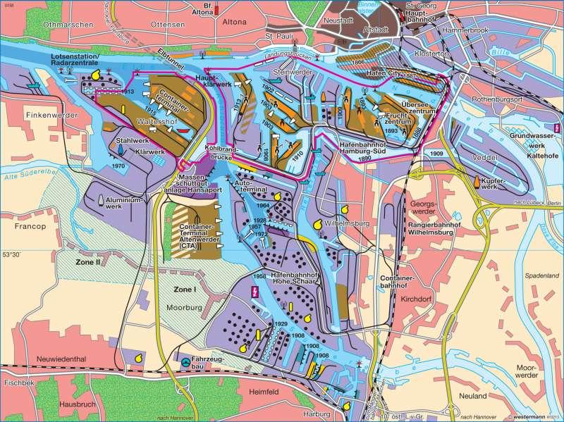 karte freihafen hamburg Diercke Weltatlas   Kartenansicht   Hamburger Hafen     978 3 14