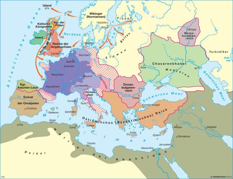 Europa am Ende der Herrschaft Karls des Großen um 814      Europa - Mittelalter   Karte 88/1
