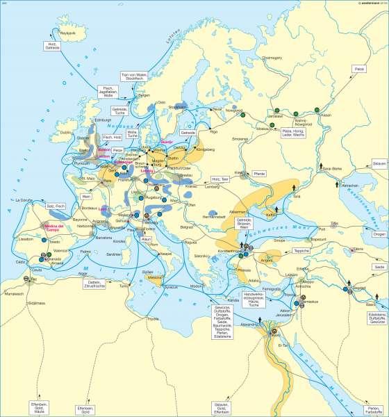 Handel und Wirtschaft im 15. Jahrhundert |  | Europa - Mittelalter | Karte 89/3