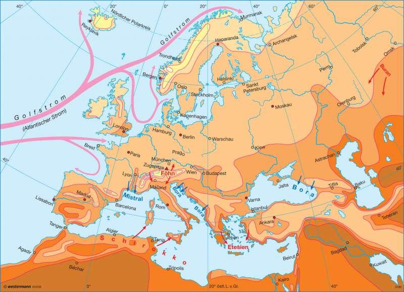 Temperaturen im Juli |  | Europa - Klima | Karte 98/2