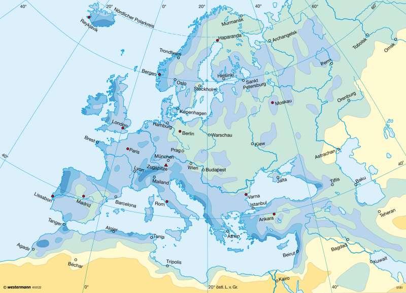 Niederschläge im Winterhalbjahr      Europa - Klima   Karte 99/3