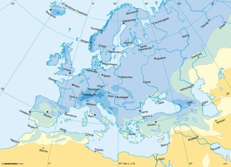 Niederschläge im Sommerhalbjahr |  | Europa - Klima | Karte 99/4