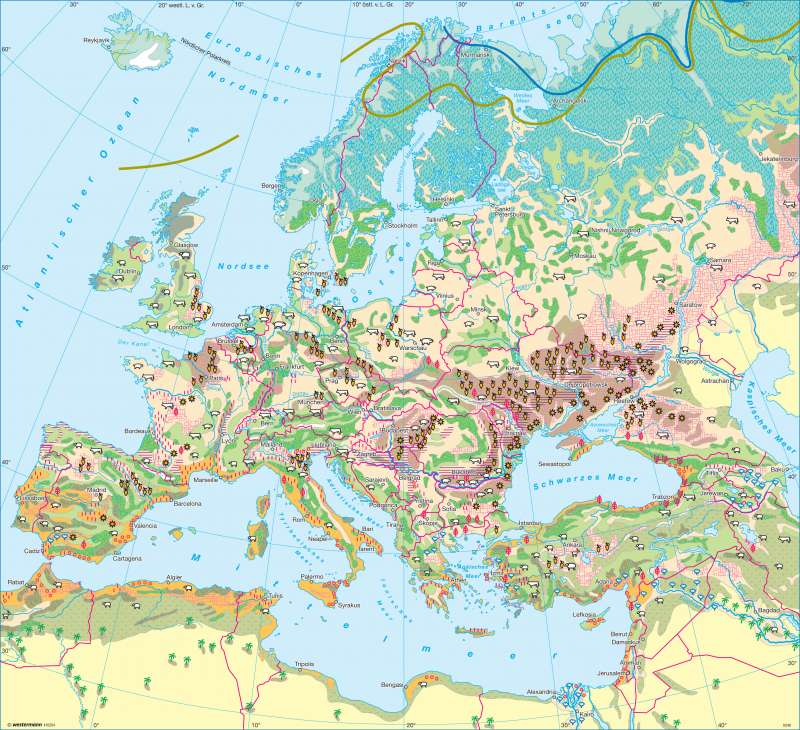 Europa | Landwirtschaft | Europa - Landwirtschaft und Böden | Karte 100/1