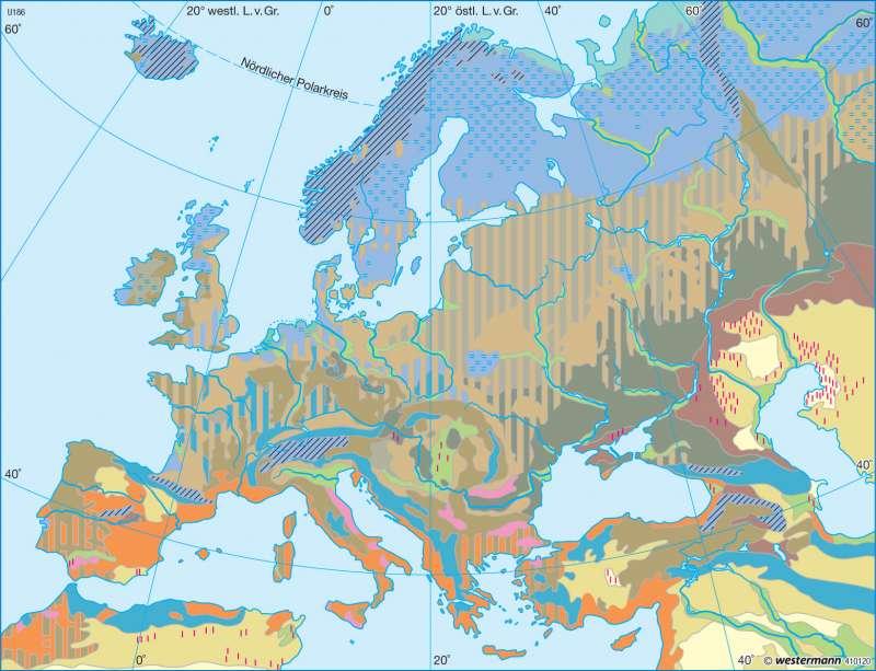 Bodentypen |  | Europa - Landwirtschaft und Böden | Karte 101/3