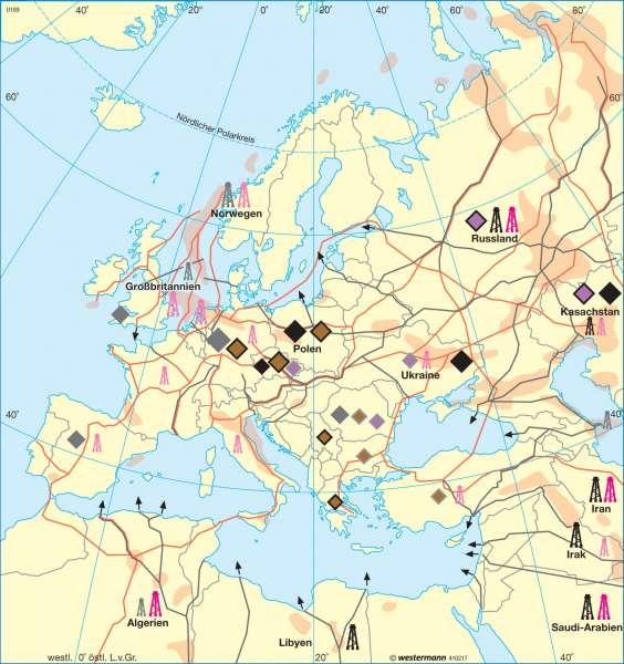 Nicht erneuerbare Energierohstoffe |  | Europa - Wirtschaft und Energie | Karte 103/2