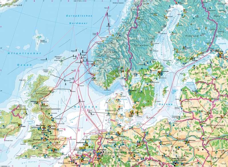 Nordseeraum / Ostseeraum | Wirtschaft und Ressourcen | Nordseeraum / Ostseeraum - Wirtschaft und Ressourcen | Karte 106/1