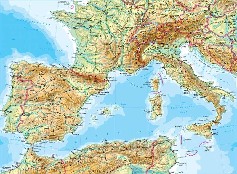 Südwesteuropa   physisch   Südwesteuropa - physisch   Karte 122/1