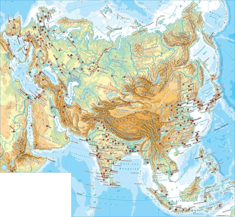 Eurasien   physisch   Eurasien - Topographie   Karte 138/1