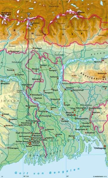 Bangladesch   physisch   Eurasien - Topographie   Karte 139/2