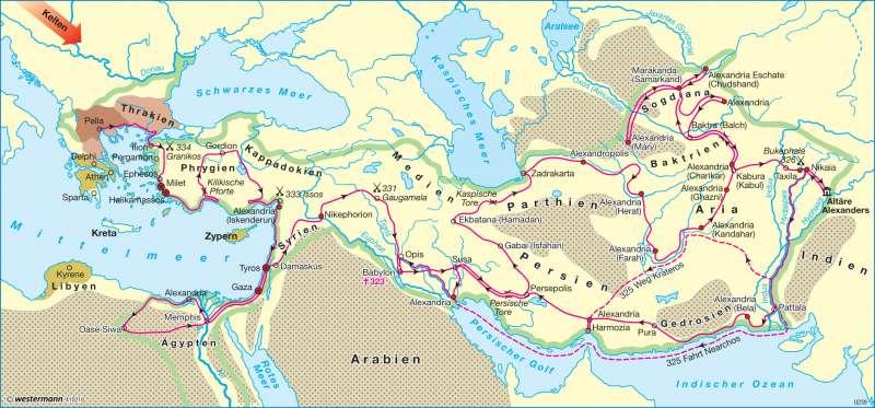 Der Feldzug Alexanders 334-323 v. Chr.      Asien - Staaten und Geschichte   Karte 140/1