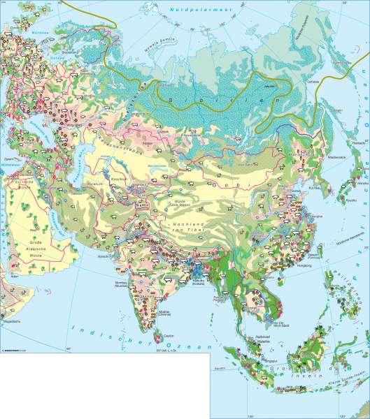 Asien | Landwirtschaft | Asien - Landwirtschaft und Klima | Karte 142/1