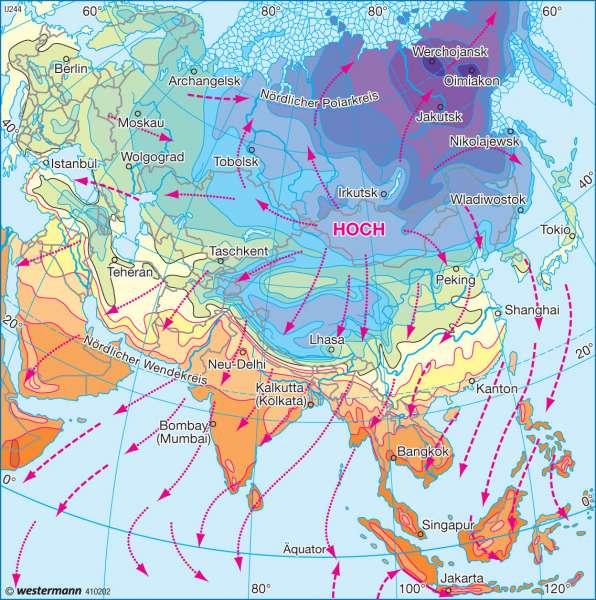 Temperaturen und Winde im Januar |  | Asien - Landwirtschaft und Klima | Karte 143/2