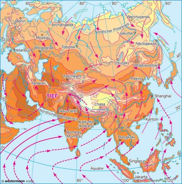 Temperaturen und Winde im Juli |  | Asien - Landwirtschaft und Klima | Karte 143/3