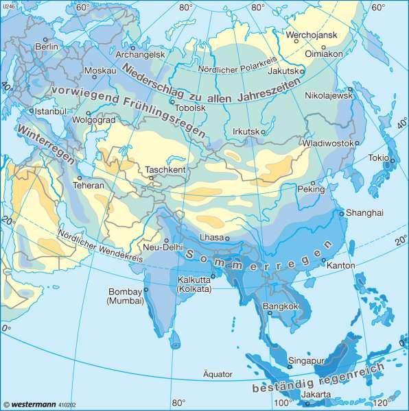 Niederschläge im Jahr      Asien - Landwirtschaft und Klima   Karte 143/4