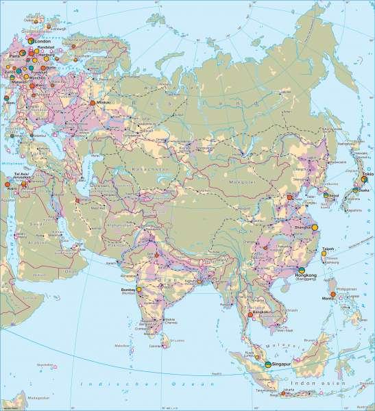 Asien   Wirtschaft   Asien - Wirtschaft und Besiedlung   Karte 144/1