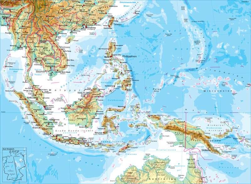 Südostasien   physisch   Südostasien - physisch   Karte 146/1