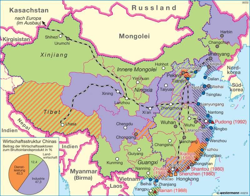 Diercke Weltatlas Kartenansicht China Raumentwicklung Seit