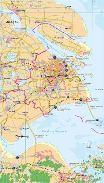 Küstenregion Shanghai      China   Karte 156/1