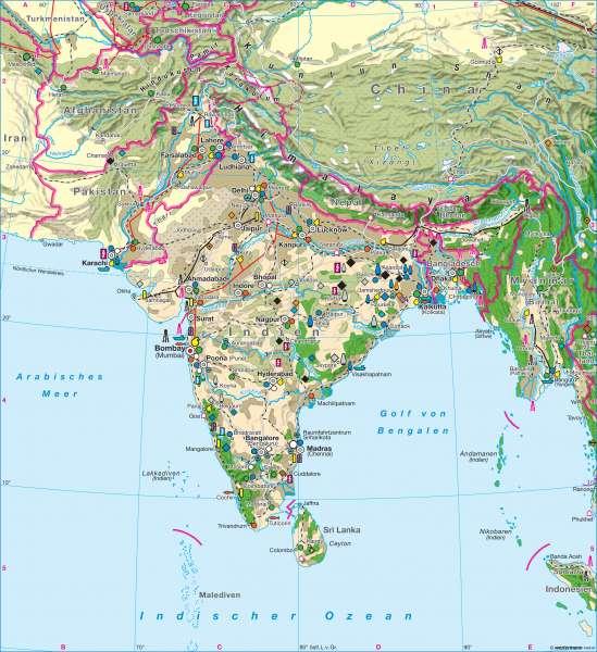 Südasien Karte.Diercke Weltatlas Kartenansicht Südasien Wirtschaft 978 3 14