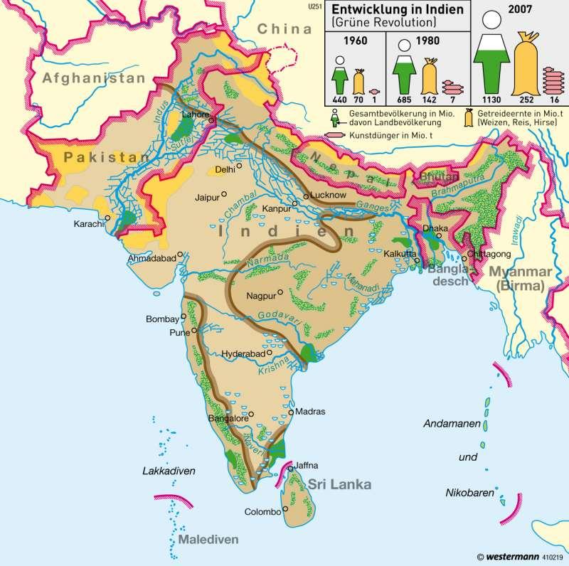 Dürregefährdung / Bewässerung |  | Südasien - Wirtschaft und Bevölkerung | Karte 159/4