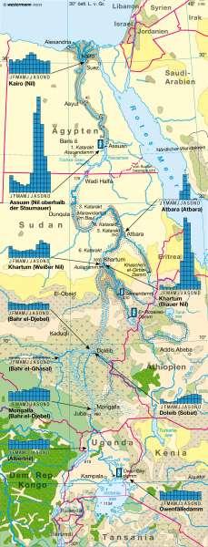 Der Nil   ein Fremdlingsfluss   Afrika - Topographie und Nil   Karte 168/2