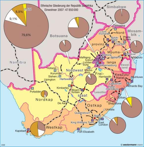 Südafrika | Bevölkerung 2007 | Afrika - Staaten und Geschichte | Karte 171/6