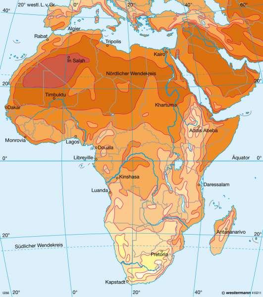 Temperaturen im Juli      Afrika - immerfeuchte und wechselfeuchte Tropen   Karte 172/4