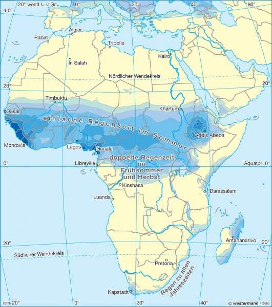Niederschläge im Juli |  | Afrika - immerfeuchte und wechselfeuchte Tropen | Karte 173/6