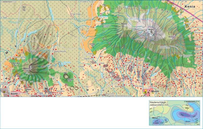 Kilimandscharo und Meru (Nord-Tansania) | Natur- und Kulturlandschaft | Afrika - Landwirtschaft | Karte 177/3