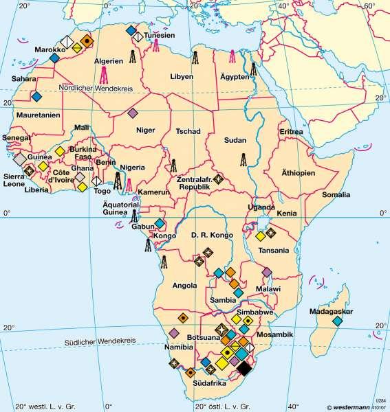 Afrika | Bergbau | Afrika - Wirtschaft | Karte 179/3