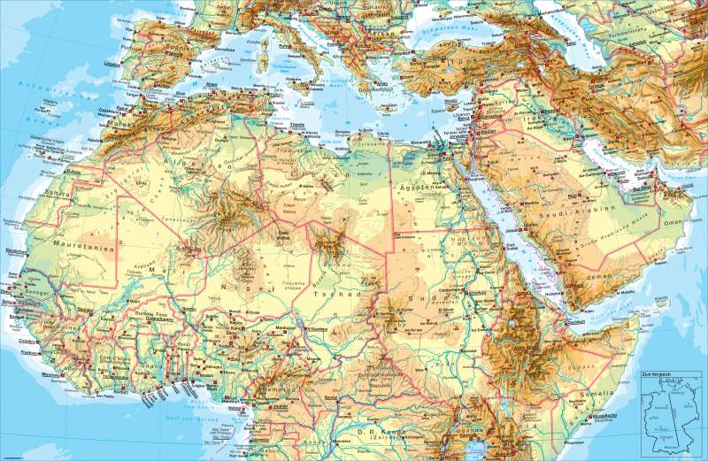 Afrika (nördlicher Teil) | physisch | Afrika (nördlicher Teil) - physisch | Karte 180/1