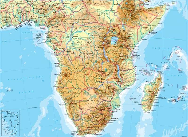 Afrika (südlicher Teil) | physisch | Afrika (südlicher Teil) - physisch | Karte 182/1